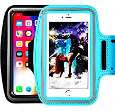 [2pack]Water Resistant Sports Armband,iEugen Universal up to 5.5 Inch for iPhoneX 8 7 Plus, 6s Plus, 6 Plus, Running Exercise Multifunction Phone Case for Android Phones -black+skyblue