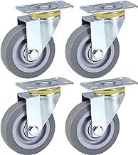4 stuks, universele wielen met rem, rubberen meubelwielen, 360 graden;Rotatie, stille wielen, gegalvaniseerd, wiegwielen,...