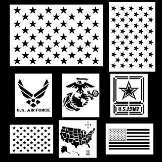 Koogel 9pcs Plastic Stencil Template,Stars U.S(Map Flag Marine Corps Army Air Force) for Planner/Notebook/Diary/Scrapbook/Graffiti/Card, DIY Drawing Painting Craft Projects
