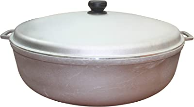 IMUSA USA 17.9Qt JUMBO Traditional Colombian Caldero (Dutch Oven) for Cooking and Serving, Silver, 17.9 Quart
