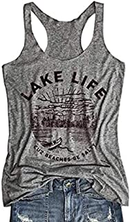 Lake Life Tank Tops Women Letter Print Sleeveless T Shirts Causal Racerback Tops