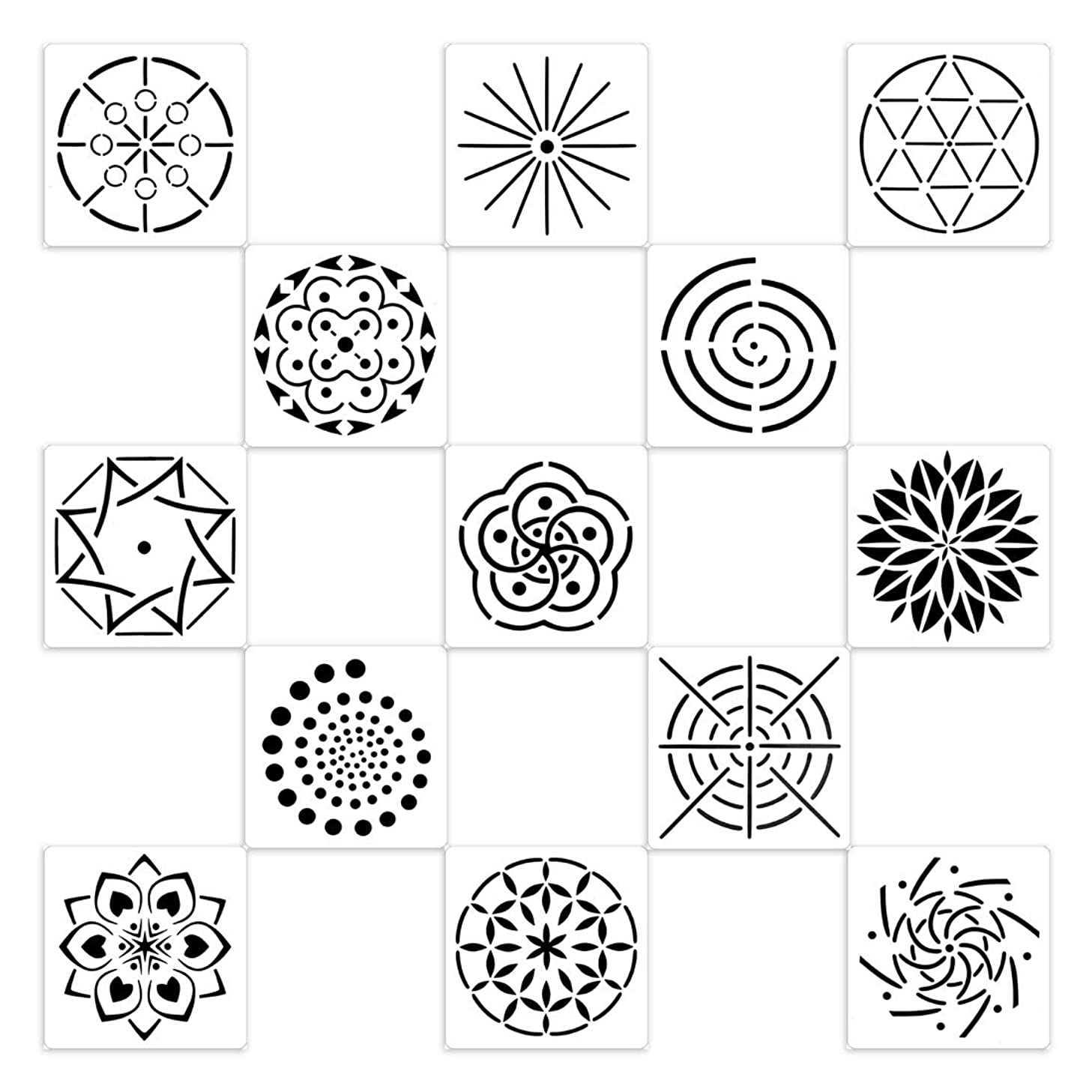 BLUE HANDCART Pack of 13 Mandala Dot Painting Templates Stencils Set for DIY Painting Art Projects on Wood,Airbrush and Walls