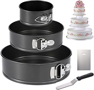 "Hiware Springform Pan Set of 3 Non-stick Cheesecake Pan, Leakproof Round Cake Pan Set Includes 3 Piece 4"" 7"" 9"" Springform Pan, Icing Spatula and Icing Smoother"