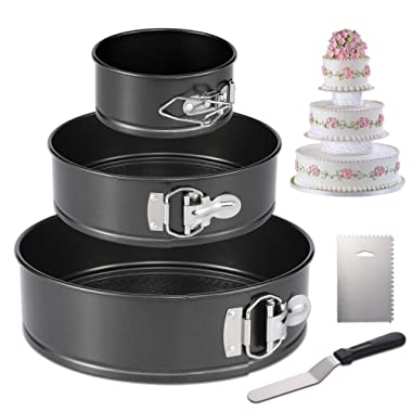 Hiware Springform Pan Set of 3 Non-stick Cheesecake Pan, Leakproof Round Cake Pan Set Includes 3 Piece 4  7  9  Springform Pan, Icing Spatula and Icing Smoother