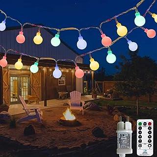 Ampoules d'extérieur à chaîne légère, 12M 120 LED avec transformateur 31V, 8 modes de guirlandes de Noël pour balcon et ch...