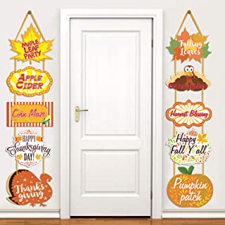 Thanksgiving Sign Cutouts fall Theme Party Supplies Door Party Wall Decorations, 10 Counts