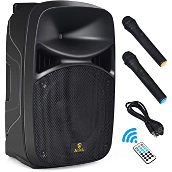 AKUSTIK 15-Inch 2-Way Portable PA Speaker System - Dual Power Supply Mode of Plug-in (AC) & Battery (DC), Bluetooth DJ Loudspeaker with 2 Wireless Microphones, Remote Control, Indoor & Outdoor