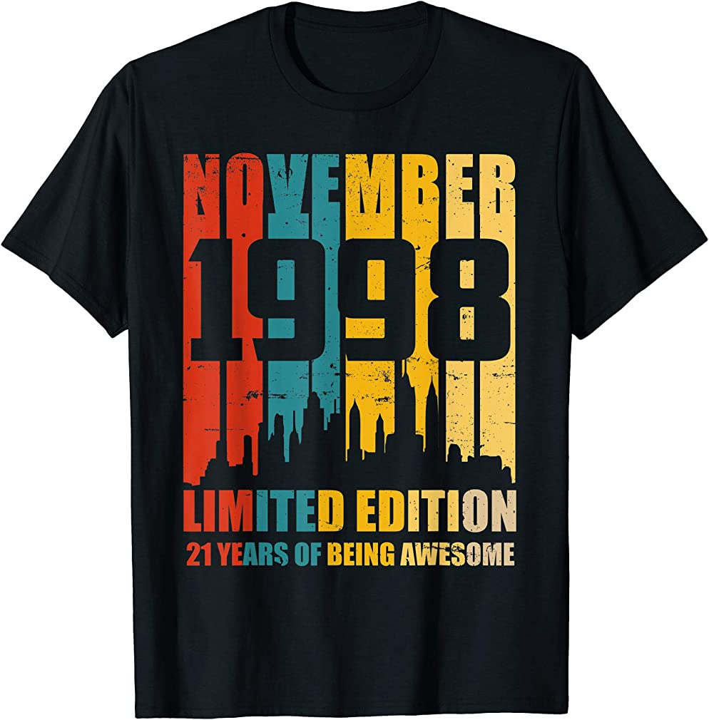 Awesome Since November 1998 Vintage 21st Birthday T-shirts
