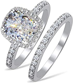 Venetia Top Grade 2.0 Carats Supreme Rectangular Emerald Cushion Cut NSCD Simulated Diamond Ring Band Set 925 Silver Platinum Plated Princess Wedding Promise Eternity