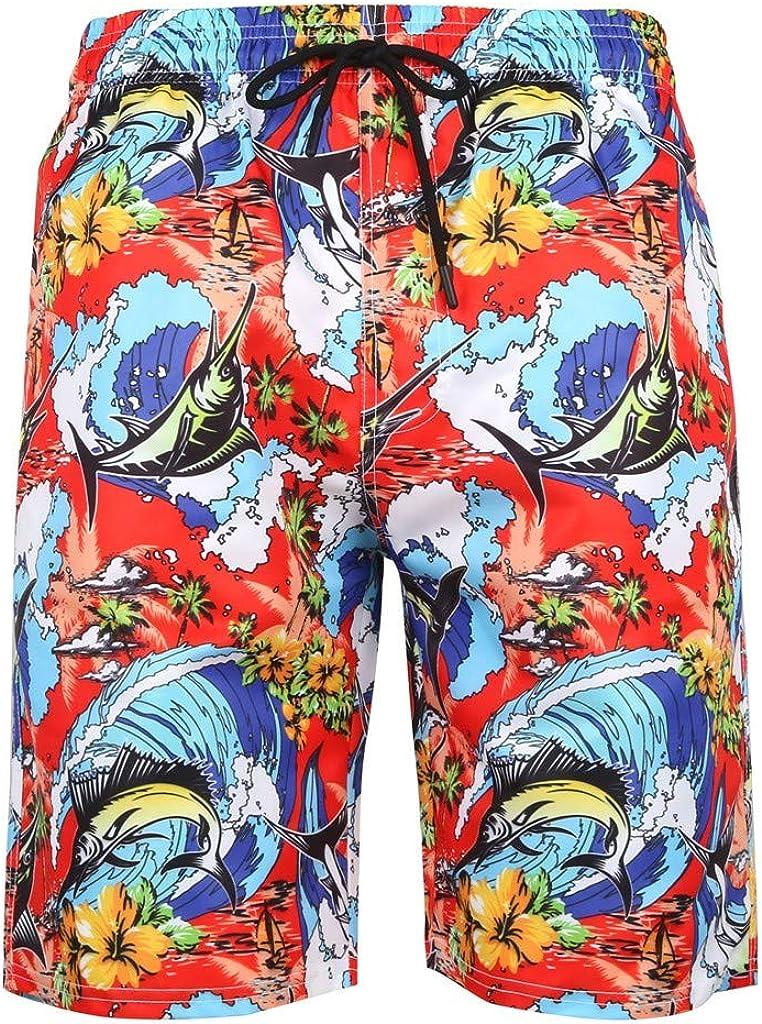 MODOQO Men's Swim Shorts,Fashion Printed Loose Fit Breathable Swim Trunks