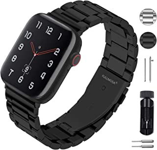 Fullmosa Black Stainless Steel Metal Bands, Metal Strap Compatible with Apple Watch 38mm 40mm 42mm 44mm for Series 4, Series 3, Series 2, Series 1 Women Men