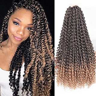Leeven 6 Pcs Passion Twist Hair Ombre Color Water Wave Synthetic Crochet Braids for Passion Twist Crochet Twist Braiding Hair Extension 18 Inch T27