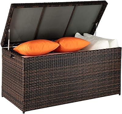 Mocha//Brown Starplast 67811 Rattan Plastic Storage Deck Box 153 Gallon