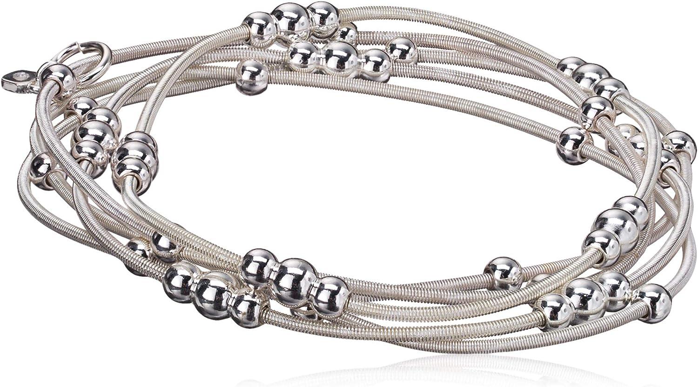 NINE WEST Women's Ignite The Night Silvertone 5 Row Stretch Bracelet