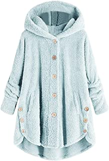 Jackets Women Long Sleeve Solid Color Hoodies Fleece Warm Button Cardigan Loose Irregular Hem with Pockets Sweatshirt Mode...