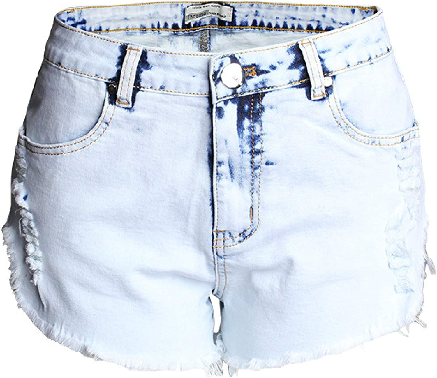 Women's Washed High-Waist Denim Shorts Max 85% OFF Fashion Fray Trend Los Angeles Mall Ripped