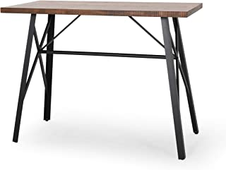 Aimee Farmhouse Counter Table with Pine Veneer, Natural Finish and Black