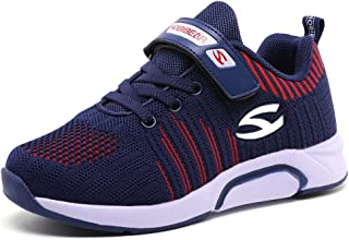 S-BAO Kids Slip-On Athletic Sneakers Boys Girls Breathable Outdoor Running Shoes