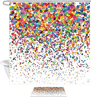 NYMB Colorful Confetti Falling Bathroom Sets with Shower Curtain and Rugs, Wedding Festival Party Decor 69X70in Fabric Bath Curtains Set 15.7x23.6in Flannel Non-Slip Floor Doormat Entrance Mats