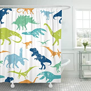 Emvency 72x78 Shower Curtain Waterproof Green Dino Pattern For Textiles Original Design With