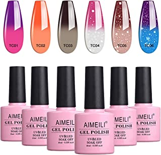 AIMEILI Soak Off UV LED Gel Nail Polish Temperature Colour Changing Multicolour/Mix Colour/Combo Colour Set Of 6pcs X 10ml - Kit Set 13