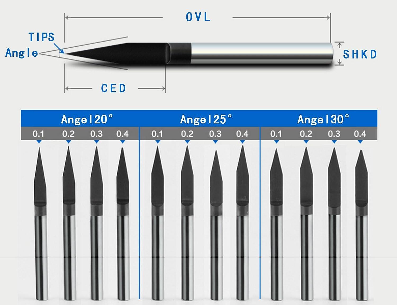 SHINA 1pc TIN TiAIN Coated Carbide PCB Engraving CNC Bit Router Tool 10 Degree 0.1mm