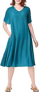 Women's Plus Size Short Crinkle Dress