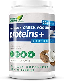 Genuine Health Fermented Greek Yogurt Proteins+, Coconut Cream Protein Powder, Low Carb, Low Sugar, Gluten Free, Digestive Support, 19.4oz Tub