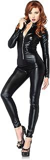 Women's Wet Look Zipper Front Cat Suit