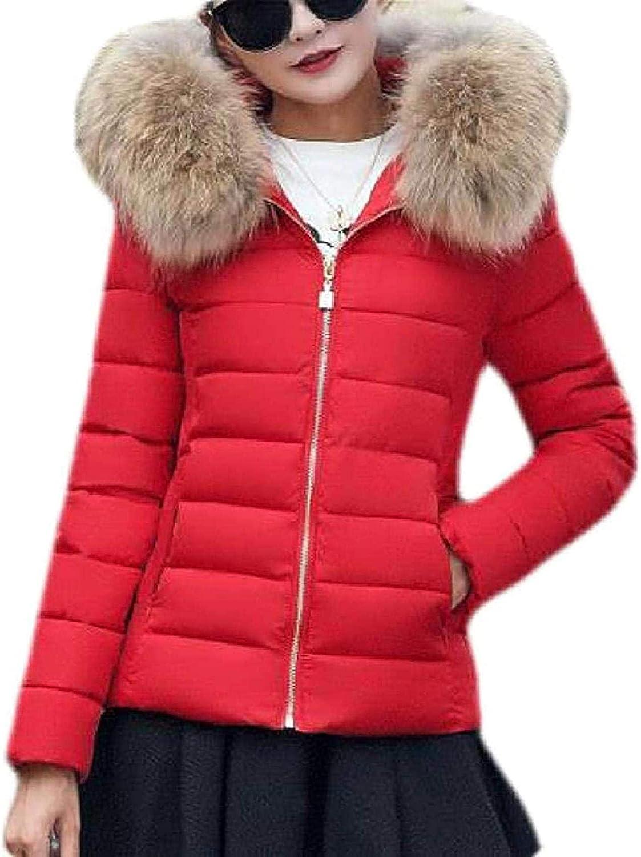 Women Slim Fit Down Jacket Faux Fur Trim Hood Quilted Winter Outerwear Short Down Jacket