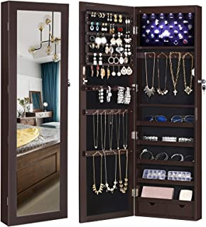 """SONGMICS 6 LEDs Cabinet Lockable 47.3"""" H Wall/Door Mounted Jewelry Armoire Organizer with Mirror, 2 Drawers, Dark Brown UJJC93K"""