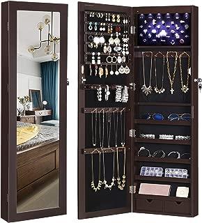 SONGMICS 6 LED Jewelry Cabinet Lockable Wall/Door Mounted Jewelry Armoire Organizer, Dark Brown, UJJC93K