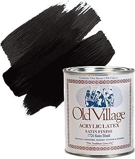 Acrylic Latex Paint, Satin Black, #1726, 1 Quart