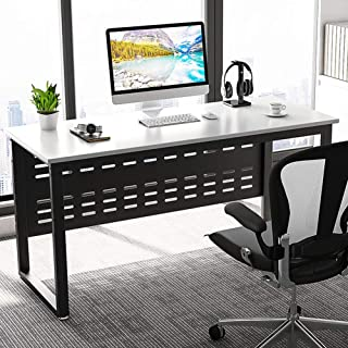 Computer Desk, LITTLE TREE 55 inch Large Office Desk Writing Gaming Table Workstation Furniture for Home Office, White + Black Metal Legs