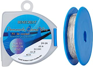 BENECREAT 24 Gauge 130 Feet/43 Yard Silver Copper Wire Tarnish Resistant Jewelry Beading Wire for Craft Project Making