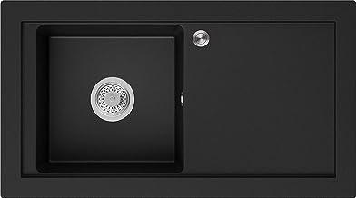 Granieten Gootsteen Zwart + Pop-Up Sifon + Antibacterieel Oppervlak, Voor Keukenkasten vanaf 60 cm, Grootte 89 x 49,5 cm, ...