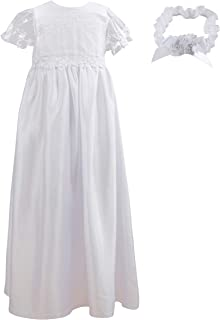 9be3039d0260f NIMBLE Baby Girls Baptism Christening Embroidered Gown with Headband for  0-12 Months