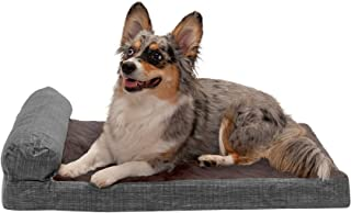 FurHaven Pet Dog Bed   Memory Foam Suede Chaise Quilted Fleece & Print Suede Lounge Pet Bed for Dogs & Cats, Espresso, Medium