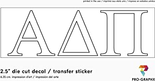 """Pro-Graphx Alpha Delta Pi Sticker Greek Sorority Decal for Car, Laptop, Windows, Officially Licensed Product, Girls College Group Monogram Design 2.5"""" Tall - White"""