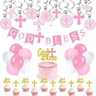 Pink Baptism Banner Swirl Cake Topper Kit God Bless Banner First Communion Party Decorations for Girl Christening Decoration Kit for Baby Shower First Birthday Decor Christening Wedding Party Favors