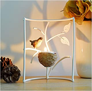 Marbrasse Metallic Votive Candle Holders, Decorative TeaLight Candle Stands for Table, Vintage Home Decor Centerpiece Features Bird, Nest and Tree (White)