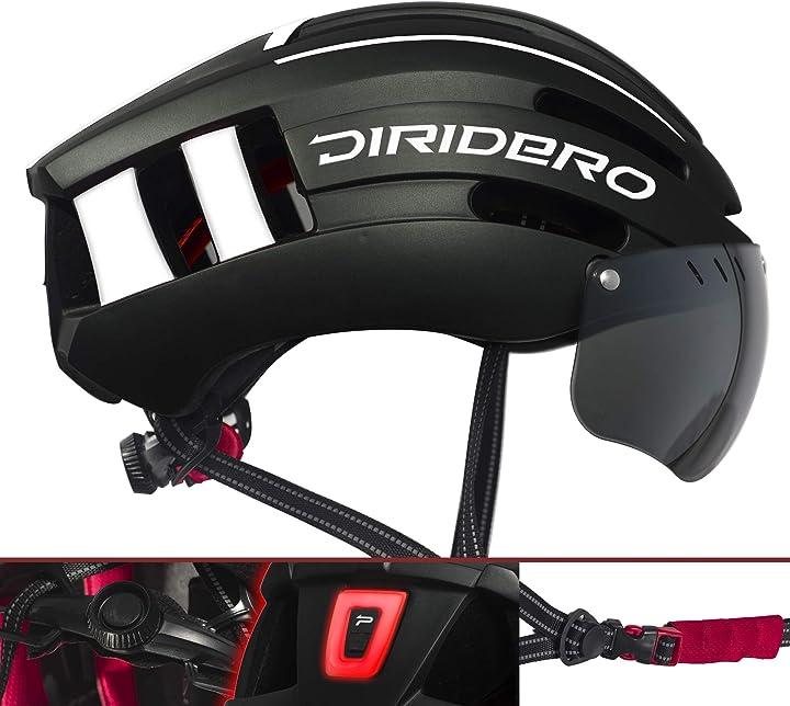 Casco bicicletta diridero con luce led certificato ce casco da ciclismo con visiera magnetica staccabile B07X3MK67N