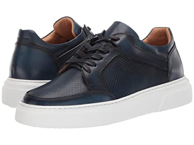 eleventy Burnished/Perforated Leather Cup Sole Sneaker (Navy) Men