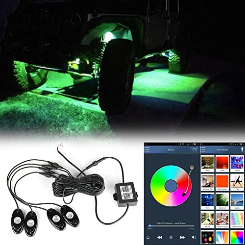 new arrival Mallofusa LED Rock Light Kits with 4 Pods Lights Wireless Bluetooth high quality Music Flashing Multi Color for Car Jeep Off Road Truck ATV wholesale SUV Boat Underbody Glow Trail Rig Lamp Waterproof RGB outlet sale