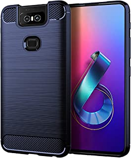 ASUS ZenFone 6 ZS630KL Case, UCC Shock Resistant Brushed Flexible Soft TPU Bumper Cover Phone Protective and Carbon Fiber ...