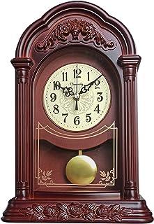 Office Mantel Clock Vintage Black Metal Table Clock Living Room Round Retro Creative Old-fashioned Desktop Clock Mantel Desk Shelf /& Home D/écor Gift