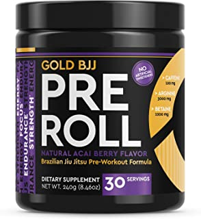 Gold BJJ PreRoll - Jiu Jitsu Pre Workout Supplement for Energy, Focus, and Endurance - Martial Arts Specific Pre-Workout P...