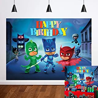 Cartoon Super City Themed Photography Backdrop PJ Masks Hero for Baby Boys Happy Birthday Party Decoration Dessert Table Baby Shower Supplies Photo Background 7x5ft Banner Booth