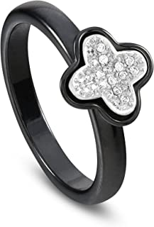 Band Rings for Women in Black Ceramic, 925 Sterling Silver Flower Charm with Cubic Zirconia, Womens Jewelry Bands