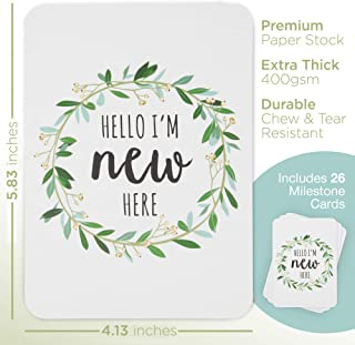 Baby Milestone Cards, Set of 26 - Newborn First Year Progress Report Cards with Cute Sayings and Floral Wreath Prints - Unique Baby Shower Gift for New Moms, Parents - Unisex, Boys